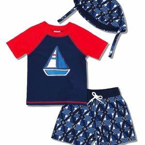 24 Months 3 Piece Boys Sailboat Bathing Suit Set